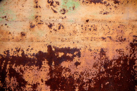 worn structure red: Old rusty metal wall with yellow peeling paint