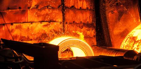 ferrous: Roll of hot metal on the conveyor line