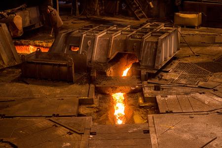 ferrous foundry: Steelworker near a blast furnace Stock Photo