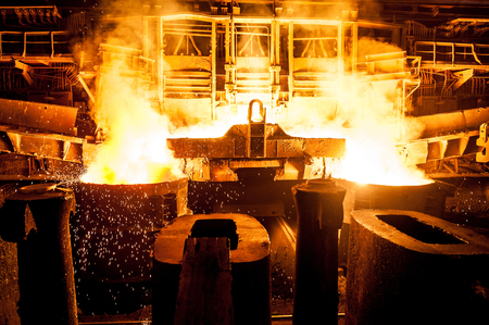 Liquid steel in the tanks