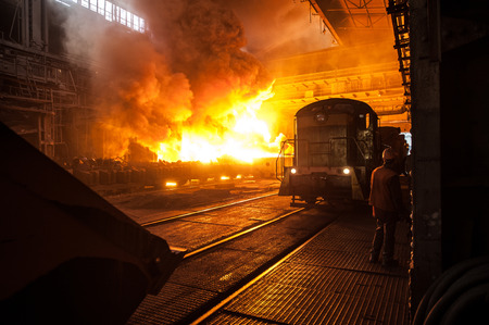 The production process in the steel mill