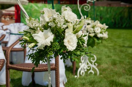 Beautifully decorated wedding reception outdoors. Wedding decor. Stock Photo