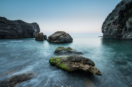 Stones in the sea on a long exposure