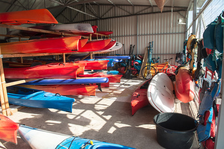 Storage of kayaks and boats in hangar