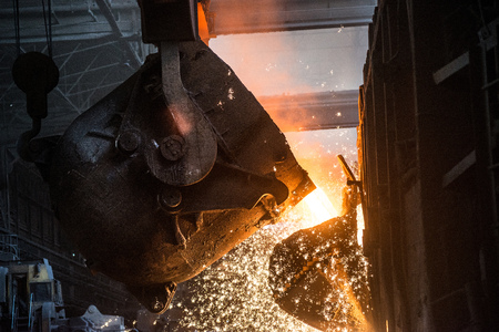 Pouring of liquid metal in open-hearth furnace Stok Fotoğraf