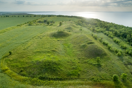 Scenic view of the burial mounds of Mamay Mountain. Aerial view. Фото со стока