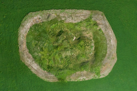 Scenic view of the burial mound of the Scythian king, aerial view.