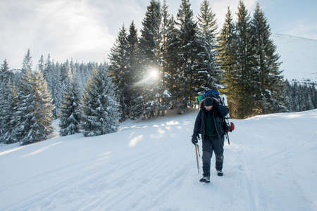 Traveler with an ice ax and a backpack walks a snowy mountain forest