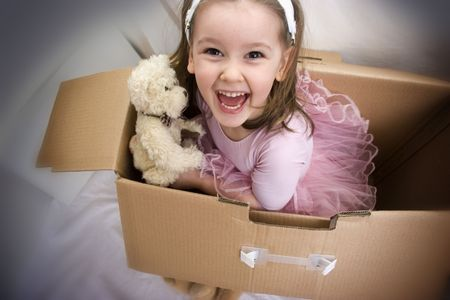 Little ballerina girl jumping from the box Stock Photo - 3681340