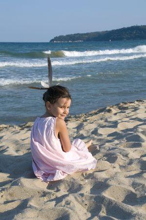 bulgaria girl: Little girl  the Black sea bech in Varna Bulgaria Stock Photo