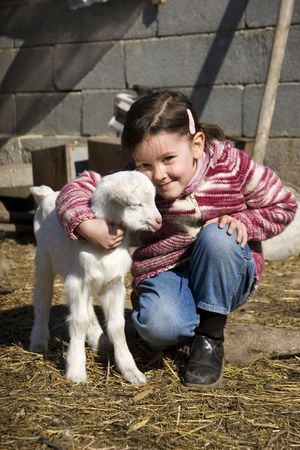 sweet  goat in the farm with girl Stock Photo - 3713924