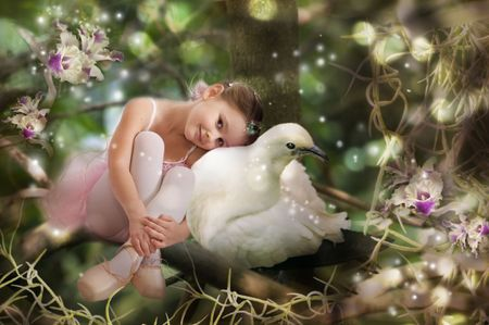 Sweet little fairy and pigeon photo