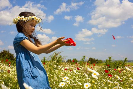 Sweet little girl on the beauty field with wild flowers Stock Photo