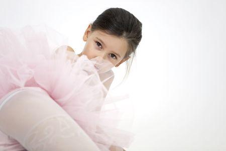 child girl nude: sweet little ballerina girl Stock Photo