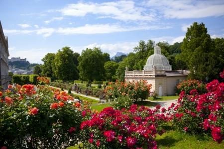 salzburg: View from Mirabell gardens in salzburg city - Austria