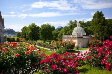 View from Mirabell gardens in salzburg city - Austria