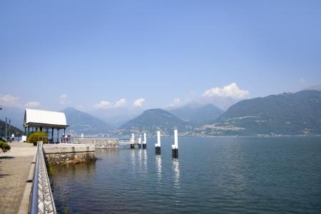 Landscape view from the coast near Colico village on te famous Italian lake Como  photo