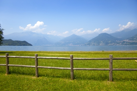 Landscape view from the coast near Colico village on te famous Italian lake Como  Stock Photo