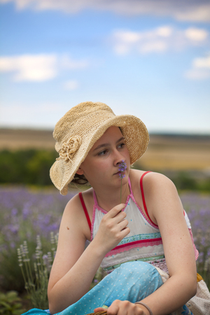 Girl on the field of lavender Stock Photo