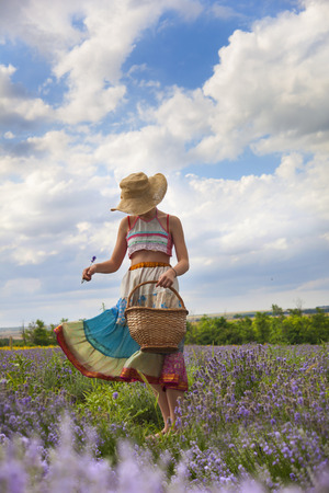 Young girl in the lavender field