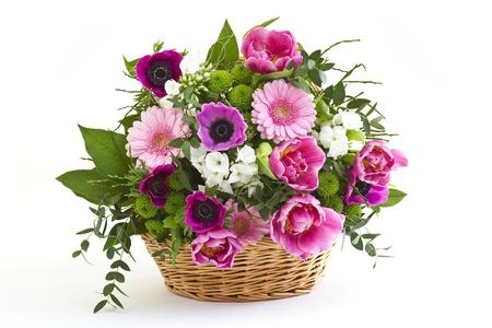 colorful flowers in a basket Standard-Bild