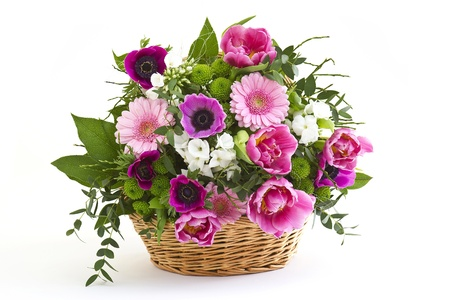 colorful flowers in a basket photo