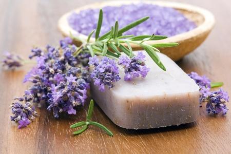 natural soap: bar of natural soap, herbs and bath salt Stock Photo