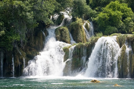 Krka waterfall in Dalmatia  Croatia  photo