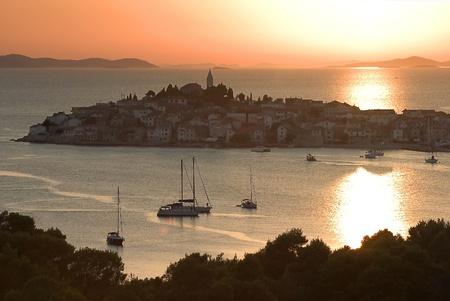 Sunset over Primosten in Croatia Stock Photo - 12707491