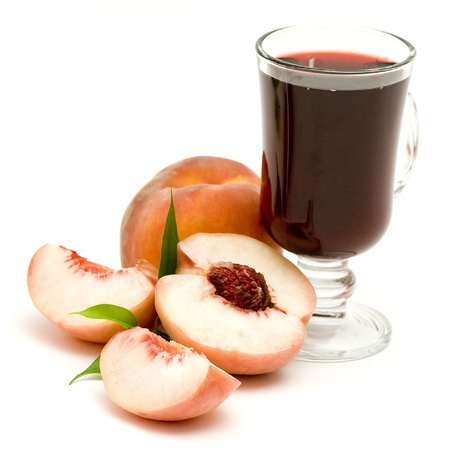 foodstill: glass of fruit juice and peaches isolated on white  Stock Photo