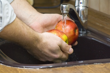 to wash up apples photo