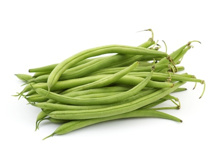vegetable cook: green beans on white background Stock Photo