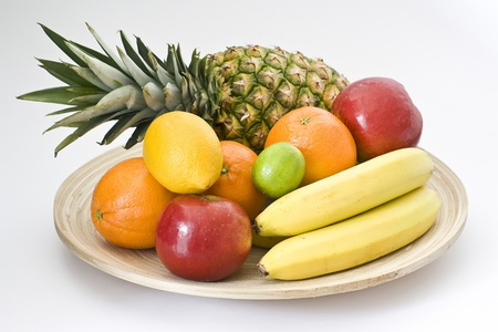fresh fruits on a plate photo
