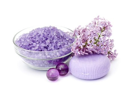 bath salt, oil pearls, soap and lilac flowers Stock Photo - 12887548