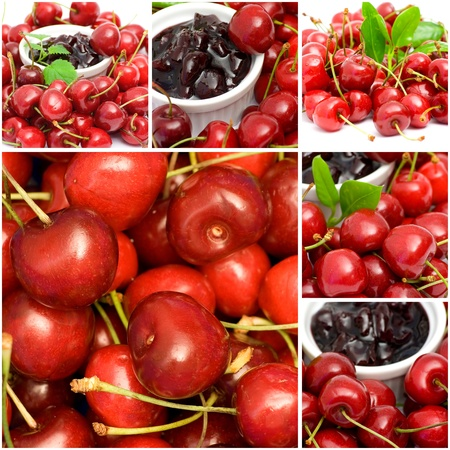 collage with cherries and jam Stock Photo - 12887573