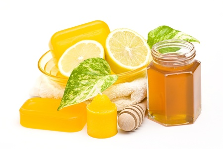 glycerin soap: bar of glycerin soap, jar of honey and lemon  Stock Photo