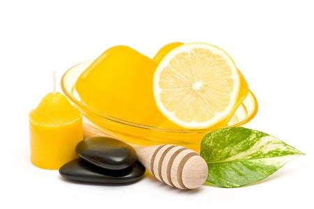 glycerin soap: glycerin soap, lemon and massage stones