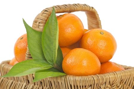 fresh tangerines in a basket Stock Photo - 13105994