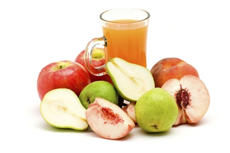 fruit juice and some fresh fruits photo