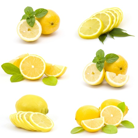 collection of fresh lemons Stock Photo