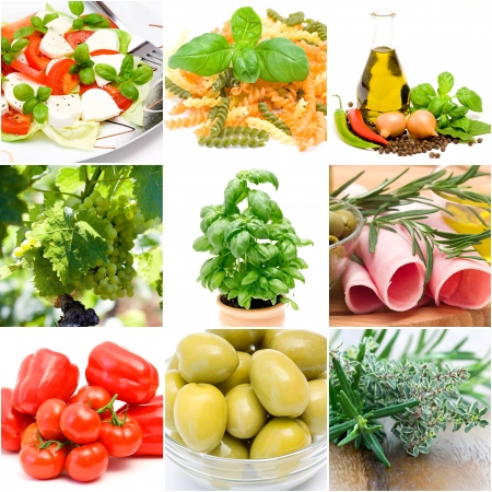 collage de comida italiana a partir de nueve fotografías Foto de archivo
