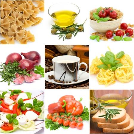 italian food collage made from nine photographs Standard-Bild
