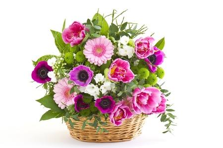 colorful flowers in a basket Standard-Bild