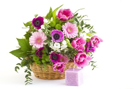 colorful flowers in a basket Stock Photo