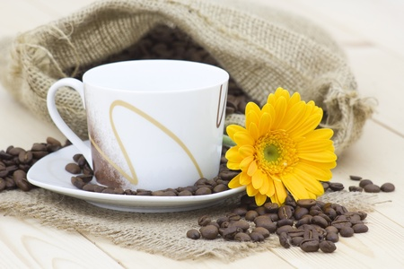 cup of coffee with orange gerbera and coffee beans Stock Photo - 13249827