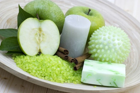 aromatic apple bath - bar of soap, bath salt, fresh apples Stock Photo - 13261203