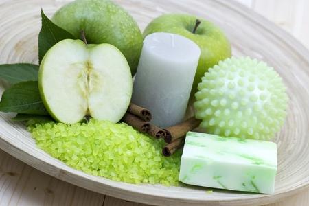 aromatic apple bath - bar of soap, bath salt, fresh apples Stock Photo - 13261203