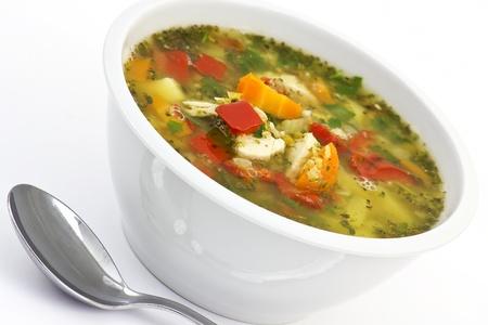 Soupe de lentilles avec beaucoup de légumes et de poulet Banque d'images - 13261155
