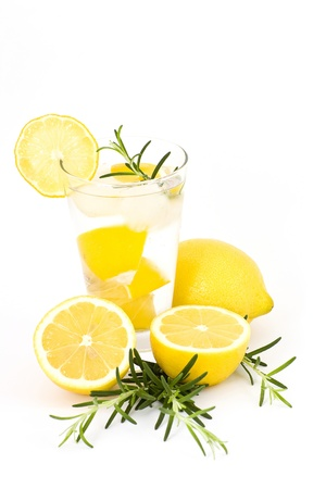 water with ice and lemon photo