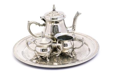 tea set: silver tea set